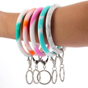 Наручные Key Chain Камуфляж Силиконовый браслет брелок круглый круг Радуга браслет брелок брелок для Женщина ремешок 5styles GGA2724