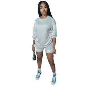 T Shirt Suits Fashion Women Tracksuits Summer Two Piece Sets Letter Printed Loose Casual Long Sleeve