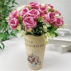 "Fake Rose (5 stems bunch) 11.81"" Length Simulation Round Roses Plastic Gypsophila for Wedding Home Artificial Flower"