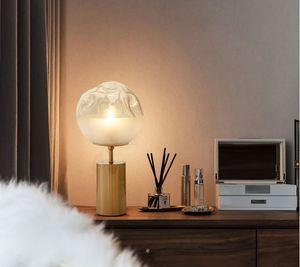Nordic ресторан украшения светодиодное освещение белый градиент стеклянный шар настольная лампа вогнутый дизайн латунь прикроватная лампа E27 с одной головкой LLFA