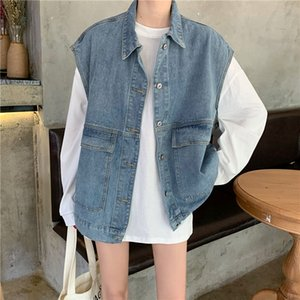 2020 New New Loose Denim Vest Oversize Big Pocket Sleeveless Jean Coat Turn-down Collar Single Breasted Female Waistcoat Outwear