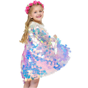 Mermaid Sequin Cape Cosplay Baby Girls Glittering Princess Cloak Children kids Christmas Costume Clothing Party supplies LJJA3665-13