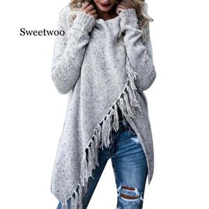 Manga SWEETWOO caliente de las mujeres de color sólido irregular Mantón largo de las borlas del suéter de punto de Cardigan