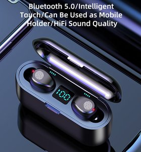cheap hot Wireless Earphone Bluetooth V5.0 F9 TWS Headphone Earbuds LED Display With 2000mAh Power Bank Headsets Microphone DHL