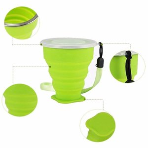 270ML Hot Sale Folding Silicone Cup Silicone Retractable Collapsible Drink Mug Portable Outdoor Travel Multi-function Water Cup with OPP Bag