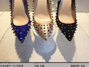 Heiße Verkäufe nieten rote untere Frauen-hohe Absätze, Art und Weise spitze Zehe ährentragende verzierte Schuhe, Frauen, die Abendschuhe Wedding sind