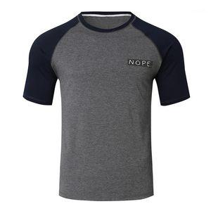 Sleeved Tees Mens Panelled Crew Neck Tops Summer Male Clothing Mens Designer Tshirts Fashion Printed Short