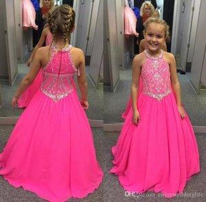 2020 Fuşya Küçük Kızlar Yarışması Elbiseler Boncuklu Kristalleri Bir Çizgi şifon Halter Boyun Çocuk Bebek Çiçek Kız Elbise İçin Düğünler