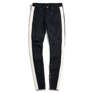 Hole progettista del Mens Jeans Moda Slim Stripe Zipper Panelled Mens pantaloni della matita Abbigliamento casual rivestite Maschi