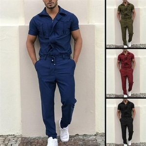 Jumpsuits Short Sleeve Long Pants Homme Jumpsuits Casual Male Clothes Zipper Cargo Mens Tracksuits Solid Color Regular One Piece