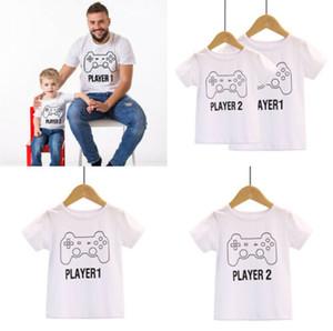 Harika oyunlar Oyuncu 1 Oyun 2 Baskı Baba ve Oğul Eşleştirme tişört Aile kıyafetler Sevimli Baskılı Moda Giyim Eşleştirme