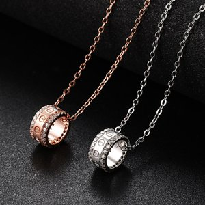 New Silver Plated Ring Necklace Women Rose Gold Color Sweater Chain Personality Temperament Choker American Fashion Jewelry