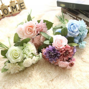 Artificial flowers Silk flower decoration wedding bouquet roses dahlias fall vivid fake leaf bridal decor