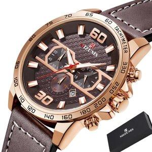 Rose Gold Mens Watches Top Mizums Sport Cronografo del quarzo di modo della vigilanza degli uomini impermeabile Relogio Masculino Nuovo