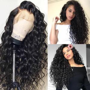 Água Cabelo Perstar 360 Lace Wig frontal Pré arrancado com bebê brasileiro Ondas Curly 360 Lace cabelo Frente Humano Perucas Mulheres Preto Para