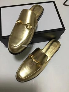 Mens womens all gold leather slipper mules designer mule slipper loafers luxuy casual shoes golden mules Big size EUR34-46