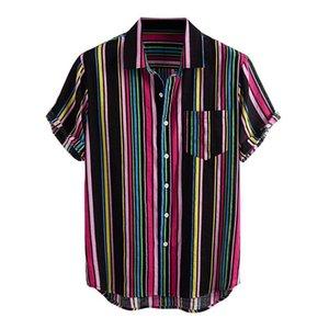 2020 Striped Shirt Men Stampato manica corta estate cotone risvolto Beach traspirante Mens camice hawaiane STREETWEAR camicetta casual