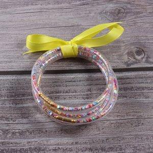 Jetzt wünscht bunte Sterne-Silikon-Armband 5pcs / set Glitter gefüllt Sternenrotz Round Bangle bunte Sterne Mädchen Armband Femme Schmuck Geschenk