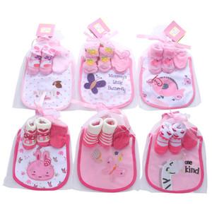 Pamuk tasarımcı Bebek Hediye Yenidoğan Kıyafetleri Bebek Çorap + eldiven + Bibs 3adet prenses yeni doğan kız bebek giysi tasarımcısı erkek Bebek Giyim A3090