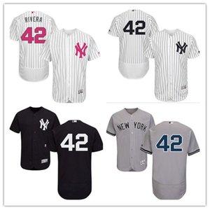 사용자 정의 무료 배송 야구 유니폼 뉴욕 42 마리아노 리베라 새로운 YorkYankees 양키 남성 여성 청소년 흰색 고품질의 유니폼을 빨간색