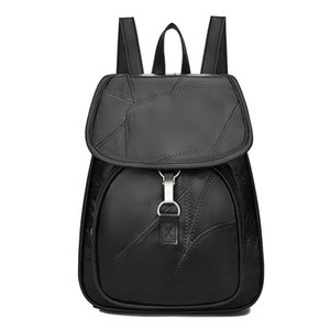 Exotic2019 Split Skin Pu Joint Both Shoulders Package School Wind Travel Leisure Time Student A Bag Solid Color Backpack Tide Woman