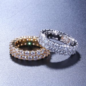 Hip Hop Bling delle donne degli uomini anelli gioielli Oro Argento doppia fila zircone Diamond Engagement Rings ghiacciato fuori