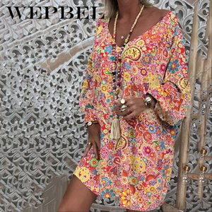 WEPBEL Ethnic Style Loose Printed Bohemian Beach Dress Summer Leisure Vacation Long Sleeve V-neck High Waist Dress MX200518