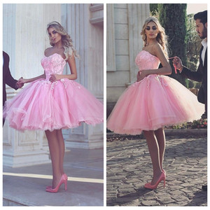 Sweetheart Pink Tul Tulle Vestidos de fiesta 2021 Medio Oriente Dubai Formal Short Sexy Vestidos De Homecoming Party Beats Customed