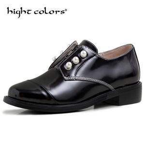 İngiliz tiki rugan oxfordlar kalın yuvarlak ayak kadınların yakışıklı inci makosenler bayanlar ofis siyah küçük deri ayakkabı