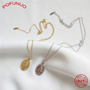 POFUNUO 925 стерлингового серебра женщин Винтажная Trendy ожерелье девушки Изысканная простота богини Девы Марии Choker ожерелье