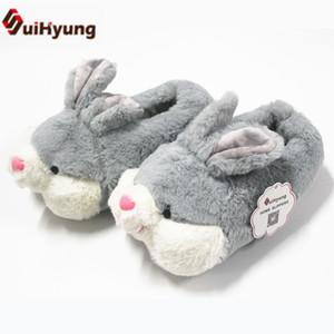 Suihyung 2018 Yeni Kış Termal Kapalı Pamuk Ayakkabı Sevimli Peluş Karikatür Bunny Pamuk-yastıklı Ev Yatak Odası Kat Akın terlik T8190617