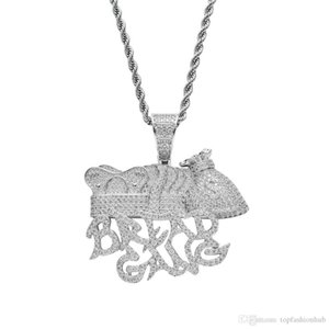Collana Collana Pane Gang Money Bag Corona Uomini Lab piena diamante placcato Hip Hop rame Jewelly