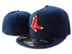 Red Sox на поле стиль Бейсбол установлены шляпы вышитые одна пара символов носки логотип спортивная команда Полный закрытые шапки темно-синий цвет