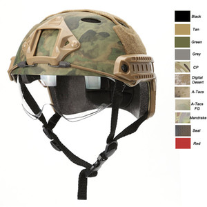 Outdoor Equipment Airsoft Paintabll Shooting Camo Helmet Head Protection Gear ABS PJ Fast Tactical Helmet with Goggles NO01-004
