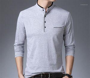 Color de las tapas del collar del soporte del Hombre camisetas de manga larga para hombre con paneles Botón camisetas para hombre Regular Longitud pura