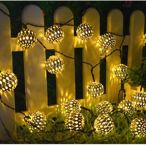 Güneş Işıklar 10 Fas Toplar LED String Peri Işık Dekoratif Tatil Noel Aydınlatma Dış Düğün Dekorasyon