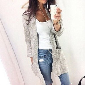 Женская мода толстовки дамы Elegent длинный комфорт пальто с длинным рукавом большой карман длинные шерстяные повседневные свободные трикотажные топы S-5XL