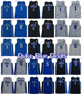 2019 Hombre Duque Blue Devils College Basketball Jersey Zion Williamson Cam Reddish RJ Barrett Home Blue Steinsed Jerseys