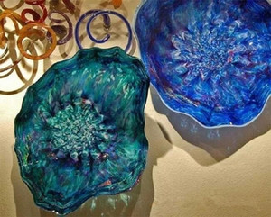 Italian Design Blown Glass Plates Turkish Murano Flower Shaped Glass Plates Murano Art Glass Wall Lights with LED Bulbs