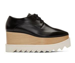 Klassische Stella Schwarz Elyse Oxfords Low-top geschliffenem Leder Schwarz Sneakers hölzerne Plattform Mccartney Modenschau Schuhe