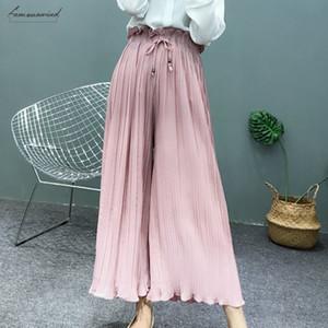Hot adattano i pantaloni nuovi pantaloni a gamba larga della vita del fiore Primavera a vita alta Pieghe petali coreano Hem selvaggio chiffon Donne Gonna