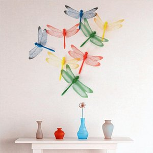 3D Art Wall Sticker 4pcs Colorful Dragonflies Butterflies Simulated Animal Wall Decals Home Room Decoration Accessories