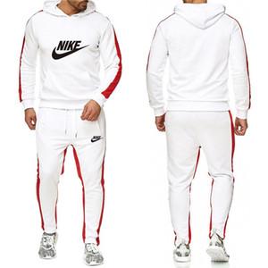 2019 Eşofman İçin Erkekler 2 adet Seti Yeni Moda Ceket Spor Erkek Eşofman Hoodie İlkbahar Sonbahar Marka Giyim Hoodies + Pantolon-K boyutu: s-3x