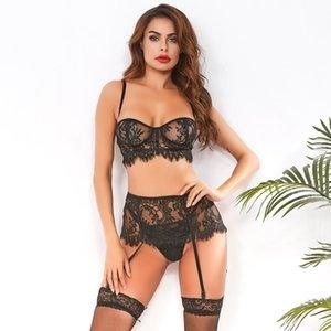 여성 섹시 세 조각 레이스 하네스 란제리 여성 섹시한 세트 섹스 가터 레이스 큰 크기 Mujer 섹시한 속옷 브래지어를 인쇄 설정