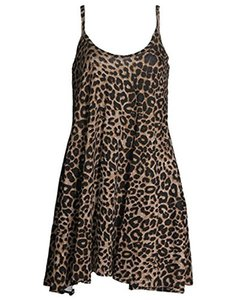 Womens Strappy Camouflage Rose Skull Leopard Print Swing Cami Dress (S-XL)