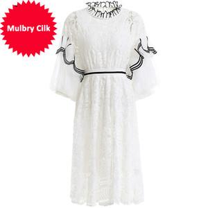 Frühlings-Sommer-Art und Weise Weinlese-Kleid Frauen-Laterne Sleeve Raff aushöhlen Mesh-Overlay elegant Urlaub Kleid