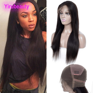 Indian Full Lace Wigs Pre Plucked Straight Human Hair Natural Color Silky Straight Virgin Hair Full Lace Wigs 8-34 Inch