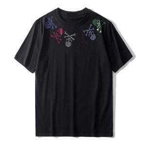 Sommermens-T-Shirt aus weicher Baumwolle mit kurzen Ärmeln Fashion Trend Männer Frauen T-Shirts Schädel Strass