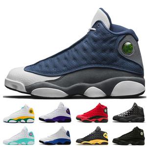 Vente chaude 13 13s hommes femmes chaussures de basket-ball Flint Playground Quel est l'amour gris Toe Atmosphere gris Bred des femmes des hommes chaussures formateur 36-47