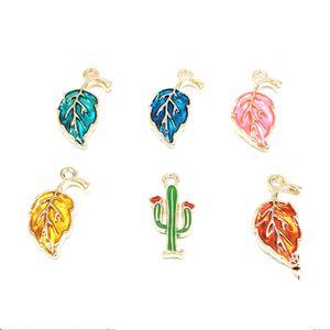 60 PCS / Lot Mode Drops De Feuille D'huile / Pendentif En Métal De Charme Cactus Fit Pour Collier Bracelet DIY Accessoires